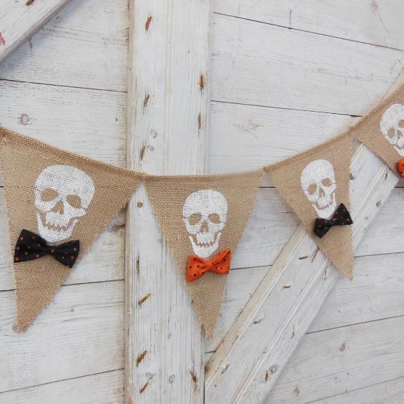 Burlap Banner with Skulls in Bowties